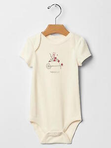 8112f3a135a8 NWT BABY GAP GIRL S IVORY FROST CAT STATEMENT BODYSUIT 100% COTTON ...