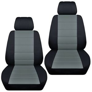 Fits-2006-2012Toyota-RAV4-front-set-car-seat-covers-black-and-steel-gray
