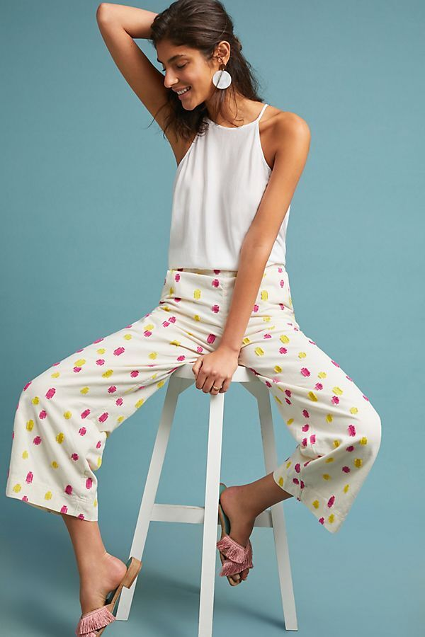 Anthropologie Cropped Clip Dot Trousers new size 8P