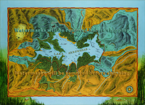 Circa 1924 Lake Arrowhead Map Giclee Print of Oil Painting by Anthony Geary
