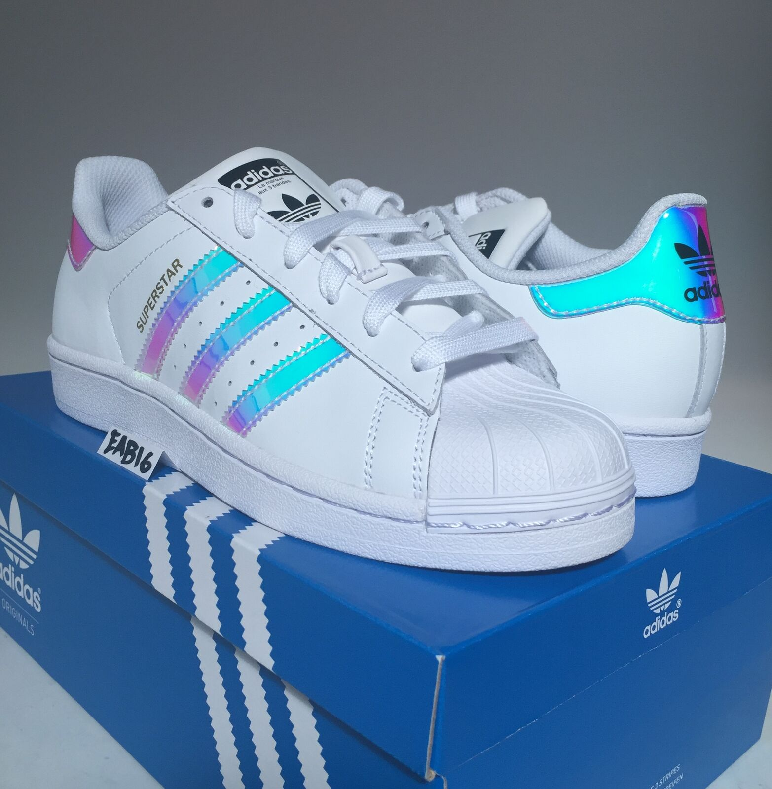 cheap for discount 89ae8 7d0b6 Adidas superstar shell j junior iridescente ologramma gs aq6278 f shell  superstar tep db0e14