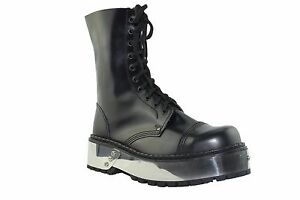 Steel Ground Combat Boots Black Leather