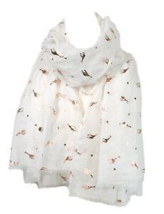 White-Grey-Rose-Gold-Foil-Giraffe-Giraffes-Scarf-Ladies-Scarves-Wrap-Animal-Gift