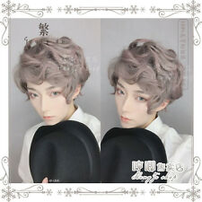 Gothic Lolita Men's Short Curly Cosplay Hair Wig Pink Gray Gradient Harajuku