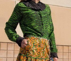 forte verde stampa m nera H camicetta Uk12 con tigre Camicia Us8 taglia Kenzo Eur38 YIxpvBSqw