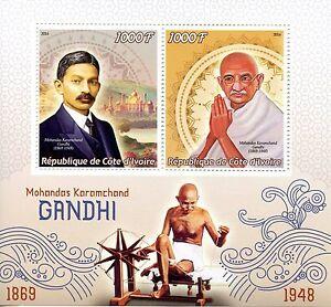 Ivory Coast 2016 MNH Mohandas Karamchand Gandhi 2v M/S Stamps