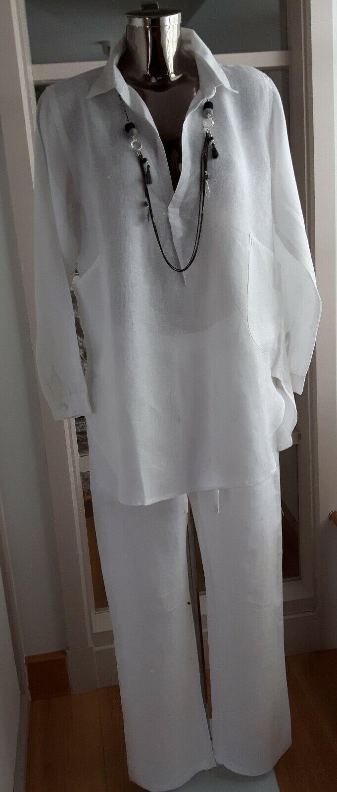 BNWT quality Weiß linen long sleeve slip on tunic Größe M