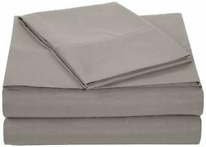 Deluxe Striped Microfiber Twin Sheet Set - Solid Grey