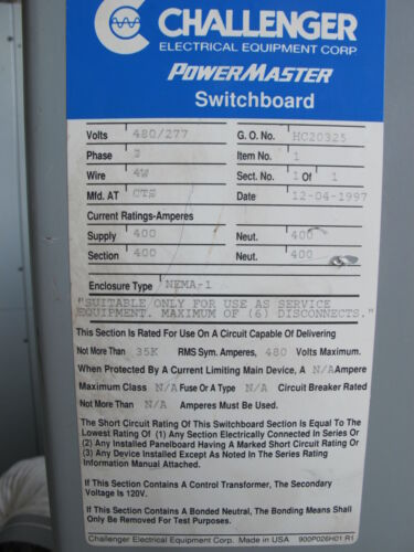 CHALLENGER 400 AMP Main Breaker CT Cabinet - E669