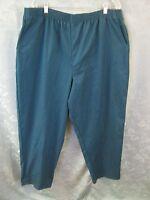Bobbie Brooks Plus Size Woman's Pants Size 24w Turquoise Twill Elastic Waist