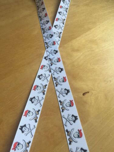 Brand New 1 Metre Black /& Red Skull /& Crossbones Pirate Grosgrain Ribbon 23mm