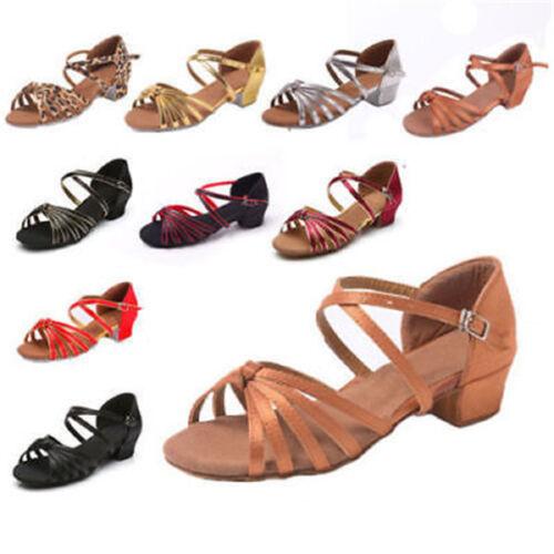 Ballroom heeled Salsa tango latin dance shoes children girls women size 24-42