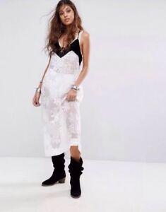 cfcfb4df65a Free People Love All Day Maxi Slip Dress Sheer Velvet White Black FP ...