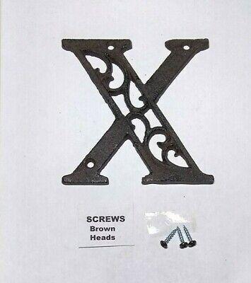 "Alphabet House Letters C Antique Brown Cast Iron Metal Large 4.5/"" Indoor Outdoor"