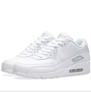 premium selection 5a982 ed60c Image is loading Nike-Air-Max-90-Retro-Leather-Triple-White-