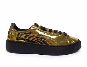 2ce0d0311f18 Puma Women s BASKET PLATFORM METALLIC Shoes Gold Black 362339-04 a ...