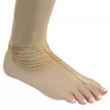 Gold Toe Anklet Bracelet Chain Tassel Boho Bohemian Jewellery Gift A206