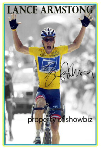 LANCE ARMSTRONG AUTOGRAPHED PHOTO OF THE TOUR DE FRANCE 7 TIMES WINNER