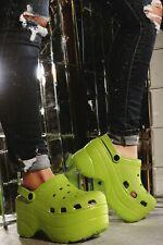 GARDENER Lime Lightweight Plastic Super Platform Slip On Utility Clog Sandal