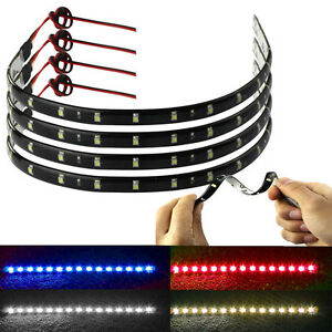 Latest-4-x-30cm-15-LED-Car-Trucks-Moto-Grill-Waterproof-Light-Strips-4-Colors