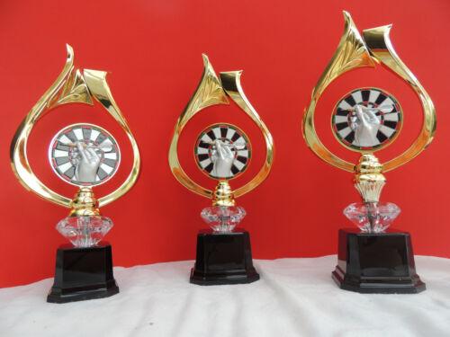 Pokal Pokale 3er Serie Dart Darts Diamant gold /& 70 mm Emblem mit Gravur 2018