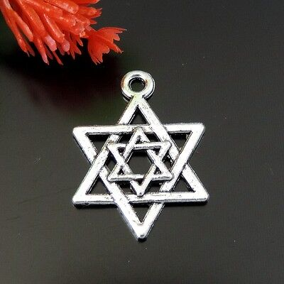 58PCS Vintage Silver Alloy Star Of David Charms Pendant Findings 21*15*1mm 39165