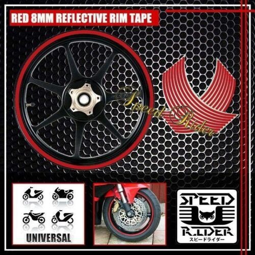 RED REFLECTIVE RIM TAPE CAR BIKE WHEEL STRIPE+SUZUKI LOGO+LETTER DECAL 16 17 18