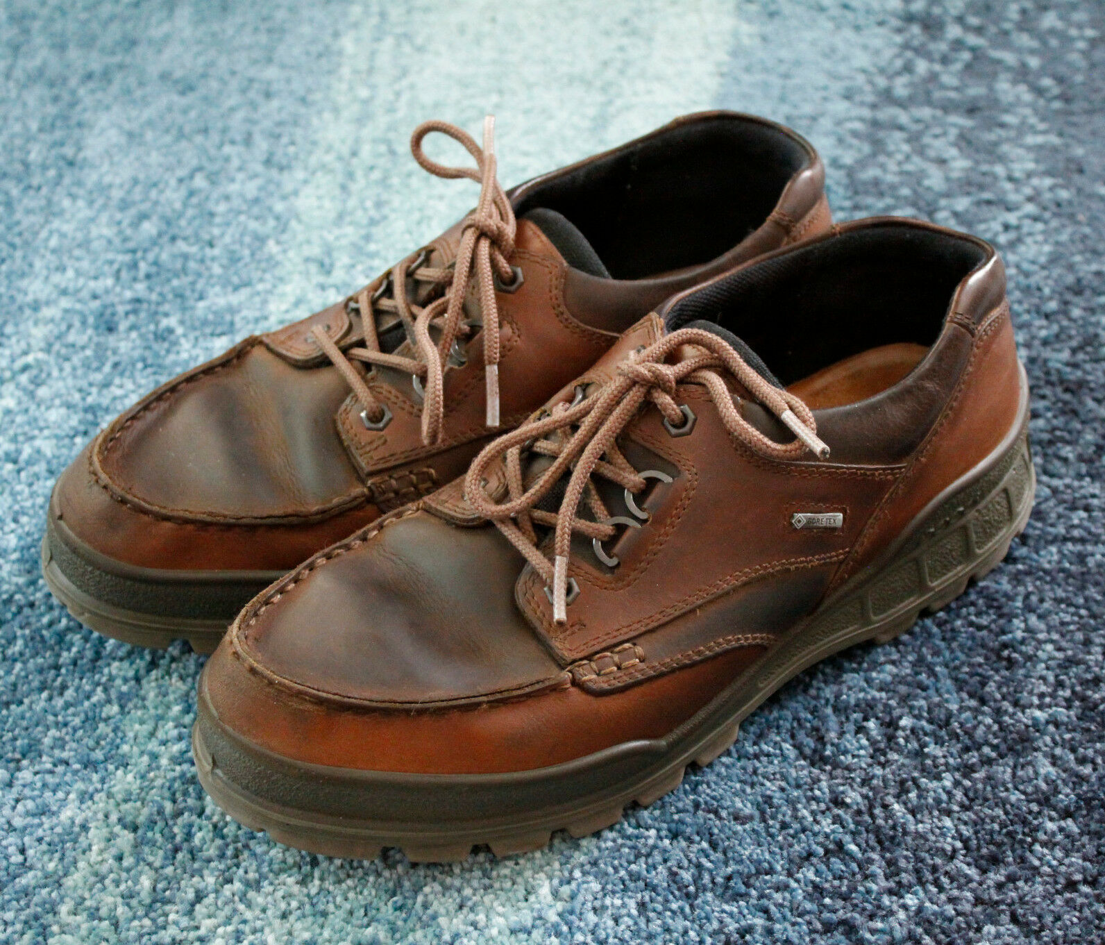 ECCO Track II Low Men's Leather Hiking Shoes Sz 10.5 Gore-Tex Waterproof Brown