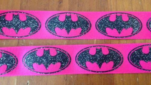 Length 1M,2M,3M,4M or 5M NEW Pink Batman Glitter Grossgrain Ribbon 7//8 Inch