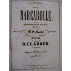 Barcarolle The Opera And I >> Auber D F E The Barcarolle Opera Singer Piano Ca1860 Partition