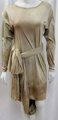 MICHAEL KORS MULTI WAY SILK DRESS TAUPE MULTI TONE OMBRE LONG SLEEVE 2 SMALL