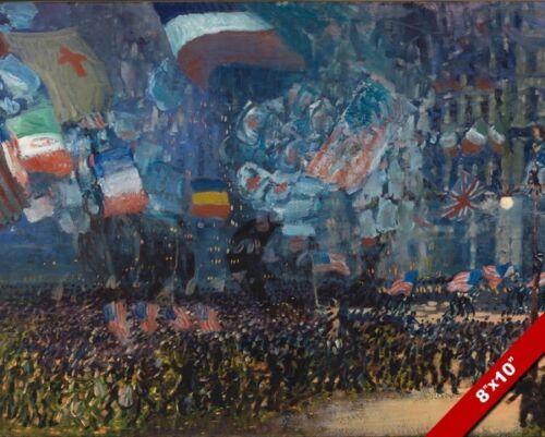 WWI ARMISTICE NIGHT NOVEMBER 11 1918 WORLD WAR 1 PAINTING ART REAL CANVAS PRINT