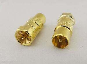 5pcs-Gold-F-Male-Plug-To-PAL-TV-Male-Straight-Coaxial-Cable-RF-Adapter-Connector