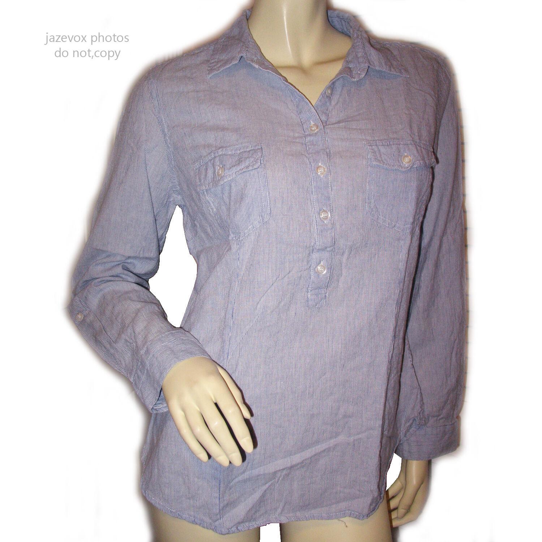 COLDWATER CREEK damen Shirt Top M 10 12 Button Collar Long Sleeve Blau Striped