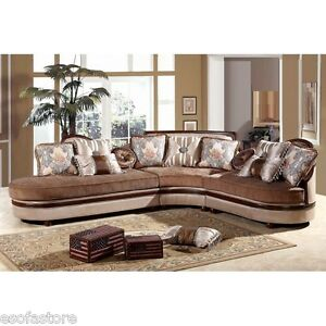 Formal Traditional Golden Bronze Fabric Sectional Sofa