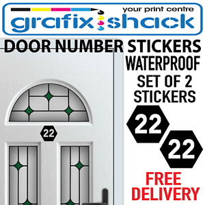 Details about HOUSE DOOR NUMBERS IN POLYGON SHAPE 2 STICKERS WITH YOUR  CHOICE OF ANY NUMBERS