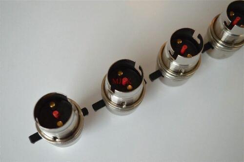 5 B22 Sécurité commuté à baïonnette nickel Porte-ampoule de lampe de table avec abat-jour Ring L10