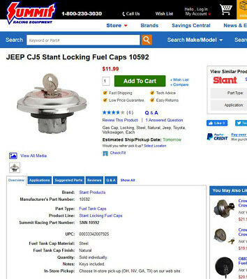 Fuel Tank Cap-Regular Locking Fuel Cap Stant 10592