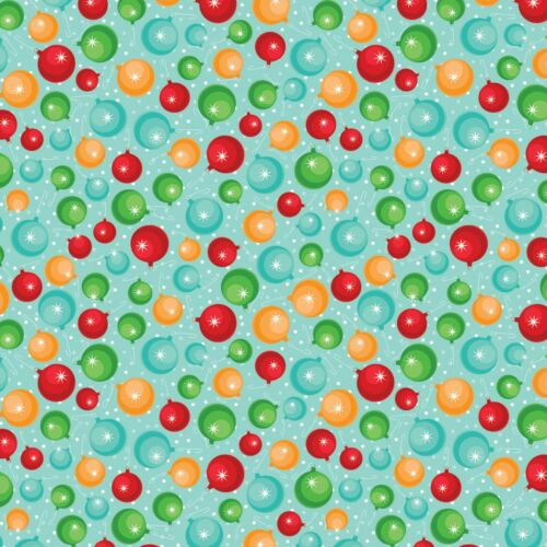 Christmas Cheer by Patrick Lose Aqua Ornament 100/% cotton fabric by the yard