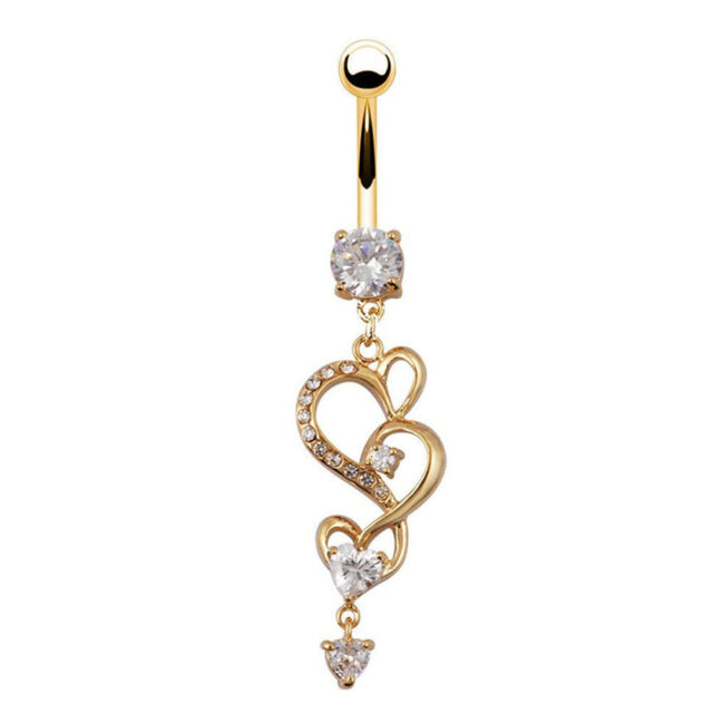 Body Piercing Gold Navel Rings Heart Crystal Clear Dangle Belly Button Rings