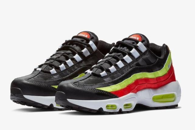 6d2b53ce149389 Nike Air Max 95 Womens 307960-019 Black White Volt Habanero Red Shoes Size  10.5