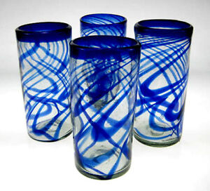 Mexican glasses, hand blown, blue swirl, set of 4, 20oz