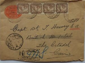EGYPT-1910-COOK-039-S-TOURS-COVER-WITH-THOMAS-COOK-PERFIN-STAMPS-amp-MILITARY-ARRIVAL