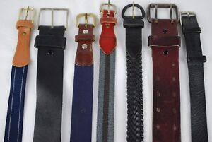 Mixed-Lot-of-7-Men-039-s-Belts-Black-Brown-Brass-Buckles-Cowhide-Leather-Dockers