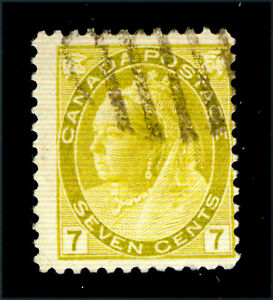 Canada-81-7c-Queen-Victoria-olive-yellow-numeral-1902-used