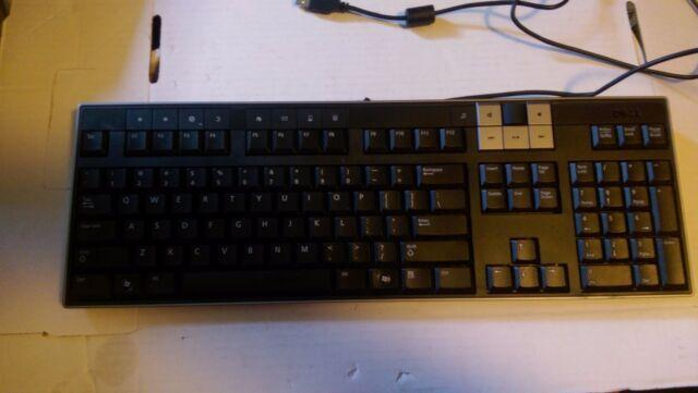 Dell Y-U0003-DEL5 USB Multimedia Keyboard Black Audio dial and 2 USB ports U473D