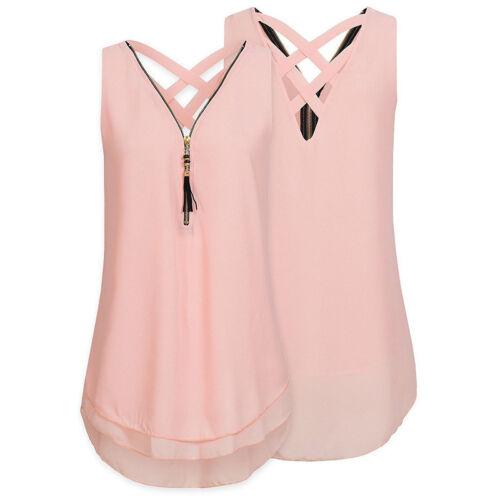 34-48 Damen V-Ausschnitt Bluse Chiffon Tank Tops Oberteile T-Shirts Sommer Weste