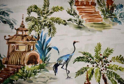 Emperor Palm Green Asian Toile Pagoda Bird Tropical Print Hamilton Fabric