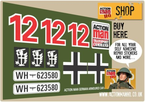 Action Man German Armoured Car Stickers