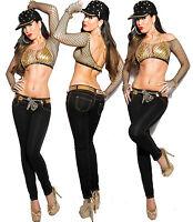 Sexy Women Clubbing Black Leo Look Trouser Ladies Skinny Leg Jean Size 6 8 10 12